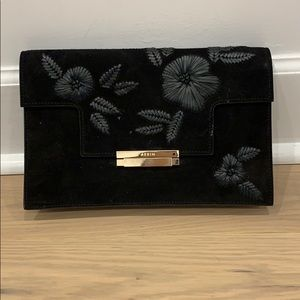 Aerin Black Suede & leather floral designs clutch